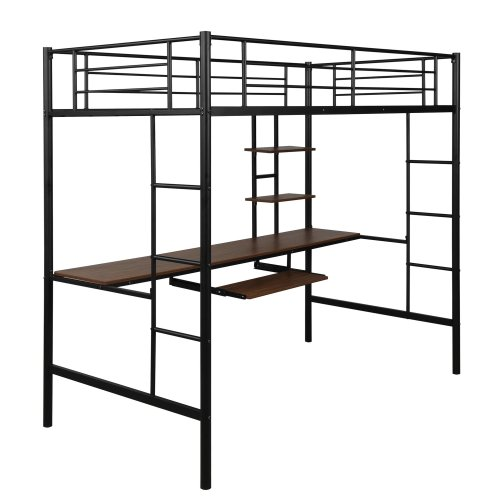 Loft bed with Dsek and Shelf , Space Saving Design 8