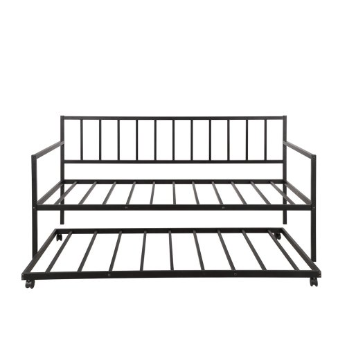 Twin Daybed with Trundle Multifunctional Metal Lounge Daybed Frame for Living Room Guest Room 5