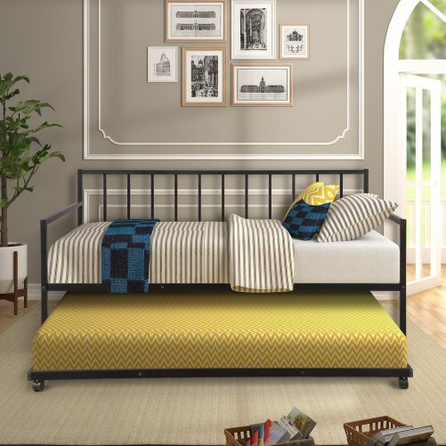 Twin Daybed with Trundle Multifunctional Metal Lounge Daybed Frame for Living Room Guest Room 1
