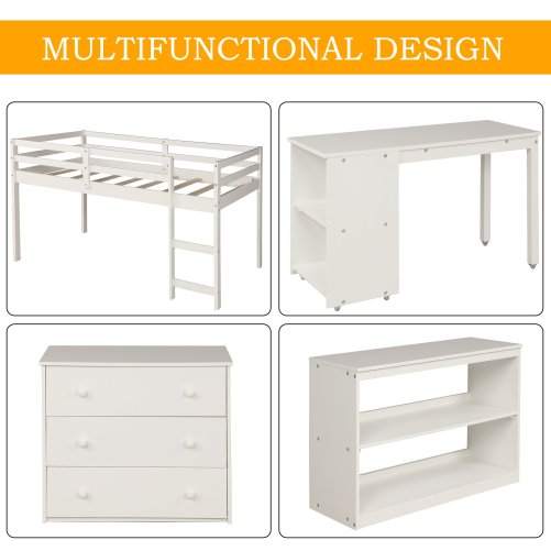 Low Study Twin Loft Bed with Cabinet and Rolling Portable Desk 16