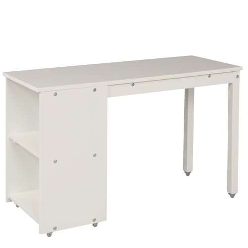 Low Study Twin Loft Bed with Cabinet and Rolling Portable Desk 2