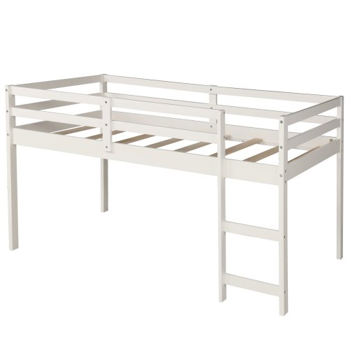 Low Study Twin Loft Bed with Cabinet and Rolling Portable Desk 8