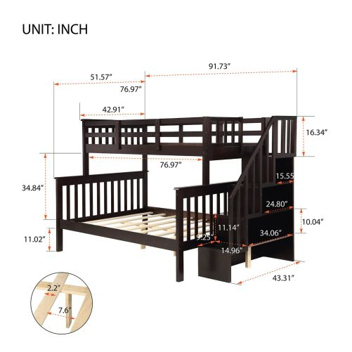 Stairway Twin-Over-Full Bunk Bed with Storage and Guard Rail 18
