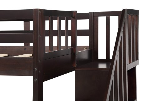 Stairway Twin-Over-Full Bunk Bed with Storage and Guard Rail 16