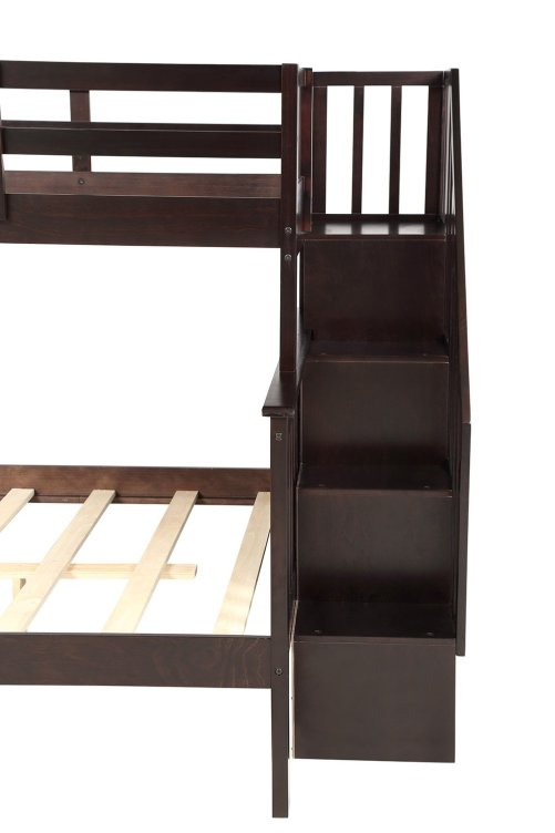 Stairway Twin-Over-Full Bunk Bed with Storage and Guard Rail 32