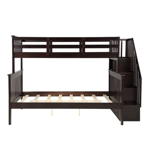 Stairway Twin-Over-Full Bunk Bed with Storage and Guard Rail 22