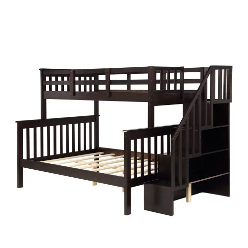 Stairway Twin-Over-Full Bunk Bed with Storage and Guard Rail 14