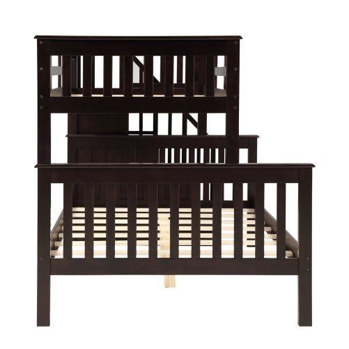 Stairway Twin-Over-Full Bunk Bed with Storage and Guard Rail 28