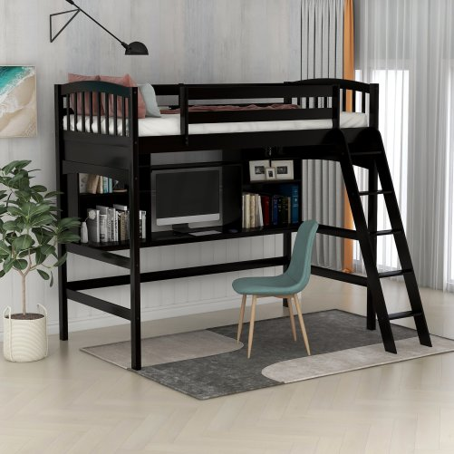 Twin size Loft Bed with Storage Shelves, Desk and Ladder 2