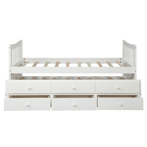 Bed with Trundle and 3 Storage Drawers 14