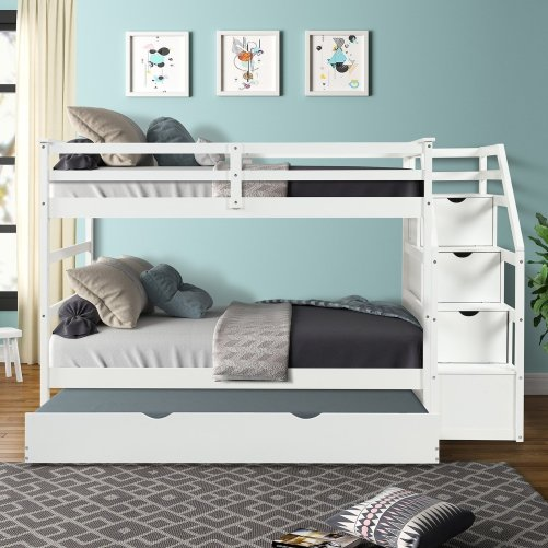 Twin-Over-Twin Trundle Bunk Bed with 4 Storage Drwers 6