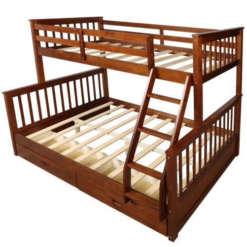 Twin-Over-Full Bunk Bed with Ladders and Two Drawers 8