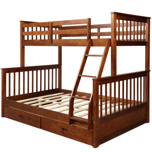 Twin-Over-Full Bunk Bed with Ladders and Two Drawers 9
