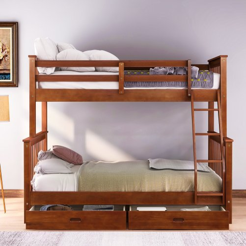 Twin-Over-Full Bunk Bed with Ladders and Two Drawers 7
