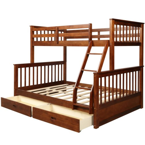 Twin-Over-Full Bunk Bed with Ladders and Two Drawers 6