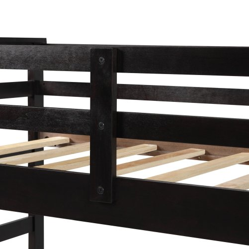 Solid Wood Bunk Bed for Kids, Hardwood Twin Over Twin Bunk Bed with Trundle and Staircase 20