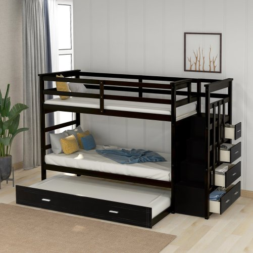 Solid Wood Bunk Bed for Kids, Hardwood Twin Over Twin Bunk Bed with Trundle and Staircase 1