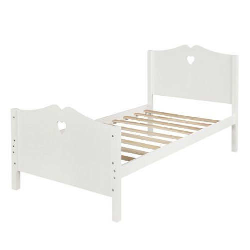 Bed Frame Twin Platform Bed with Wood Slat Support and Headboard and Footboard 20
