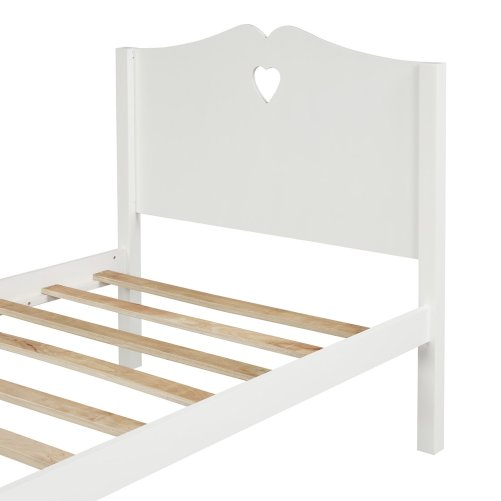 Bed Frame Twin Platform Bed with Wood Slat Support and Headboard and Footboard 26