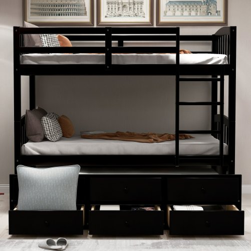 Twin Bunk Bed with Ladder, Safety Rail, Twin Trundle Bed with 3 Drawers for Kids 16