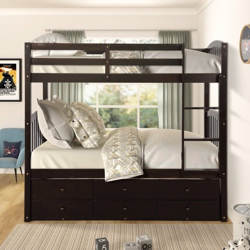 Twin Bunk Bed with Ladder, Safety Rail, Twin Trundle Bed with 3 Drawers for Kids 17