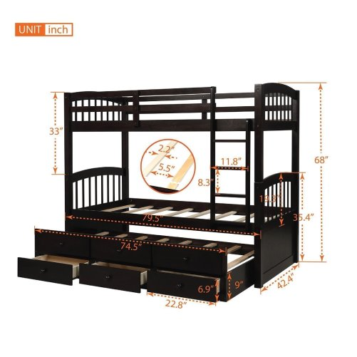 Twin Bunk Bed with Ladder, Safety Rail, Twin Trundle Bed with 3 Drawers for Kids 13
