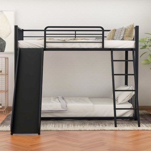 Metal Bunk Bed with Slide, Twin over Twin 6