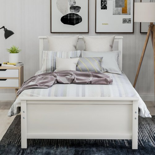 Wood Platform Bed with Headboard,Footboard and Wood Slat Support 3