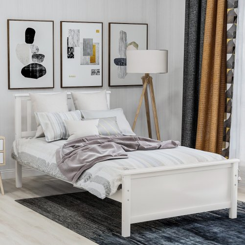 Wood Platform Bed with Headboard,Footboard and Wood Slat Support 8