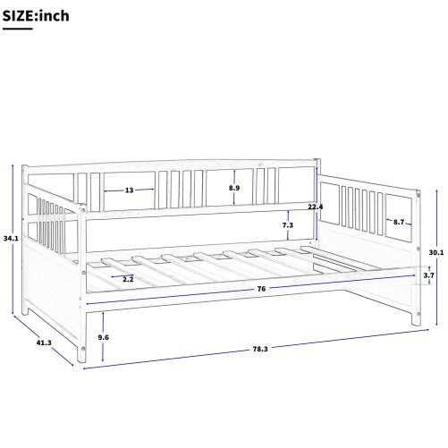 Solid Wood Daybed, Multifunctional 7
