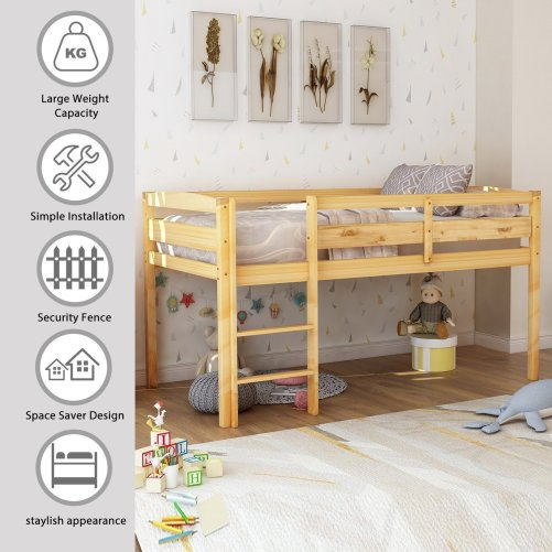 Twin Wood Loft Bed Low Loft Beds for Kids with Ladder 1
