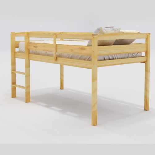 Twin Wood Loft Bed Low Loft Beds for Kids with Ladder 3