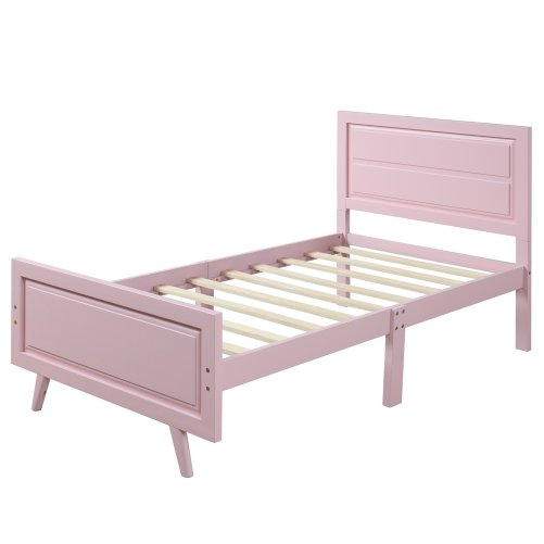 Wood Platform Bed Twin Bed Frame Mattress Foundation with Headboard and Wood Slat Support 13