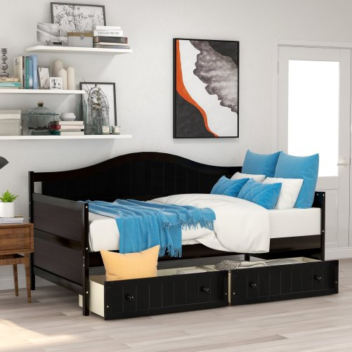 Twin Wooden Daybed with 2 drawers, Sofa Bed for Bedroom Living Room 7