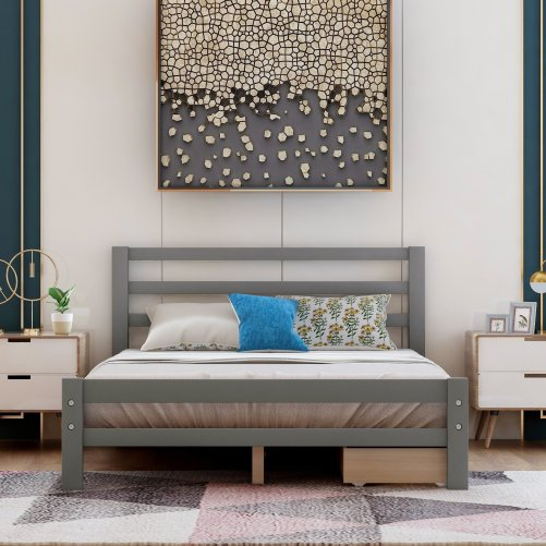 Wood Platform Bed With Two Drawers, Full Size 9