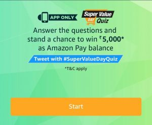 (2nd January)AmazonSuper Value day Quiz - Answer and Win Rs.5000
