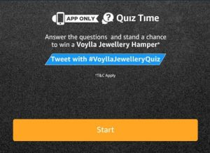 (Answers Added) All Answers of Amazon voylla Quiz