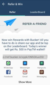 {*BOOM*} Bucker App : Refer And Earn Rs.500 Paytm Cash Daily