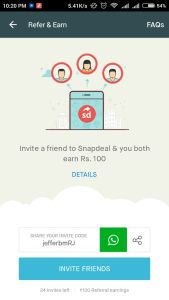 Snapdeal App : Refer Friends And Earn Upto Rs.2500 FreeCharge Credits (Rs.100/Signup + Rs.100/Refer)