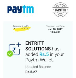 Here Is Proof Of Free Paytm Cash From Entritt Solutions