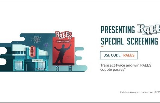 """Freecharge RAEES Offer- Transact Twice & Get Free 2 """"Raees"""" Movie Tickets"""