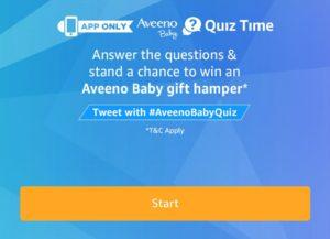 Amazon Aveeno Baby Quiz - Answer & Win Hampers Worth Rs 2 Lakhs
