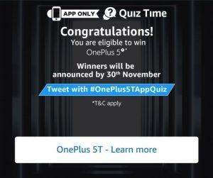 (All Answers)Amazon Quiz Time - Answer & Win One Plus 5T