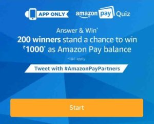 Amazon Pay Quiz 27 february -Answer & Win Rs.1000 Amazon Pay Balance