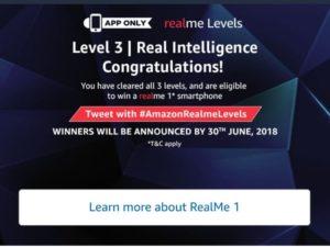 Amazon Realme Levels - Answer & win Realme Smartphone