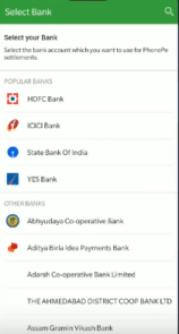 Select Bank on PhonePe Merchant Account