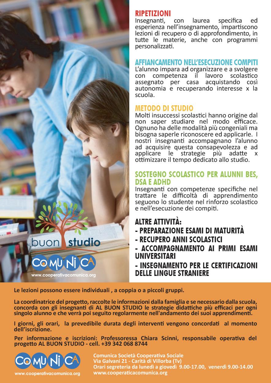 al Buon Studio - Ripetizioni a Treviso - retro