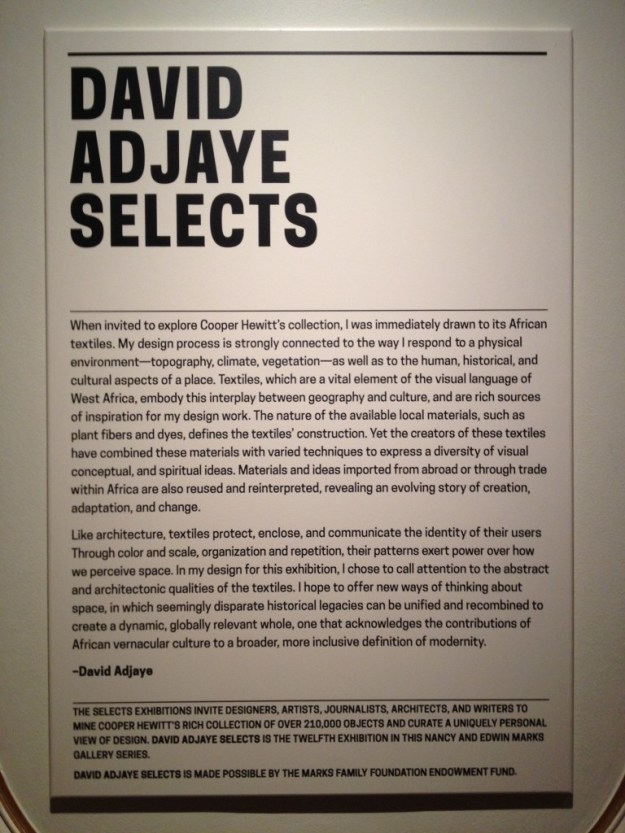 David Adjaye Selects introduction label, Cooper-Hewitt Smithsonian Design Museum, 2015