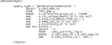 The cdisSql.xml file.