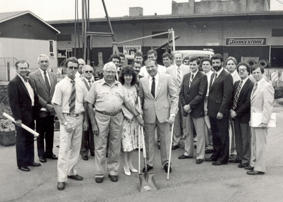 TIMES-SHAMROCK ARCHIVES Cooper's Restaurant, 701 N. Washington Ave., breaks ground for an addition on Sept. 3, 1986, with ECI of Clarks Summit as project manager and developer. From left are James Clark, John Cooper, Mrs. Jack Cooper and Mayor David Wenzel.